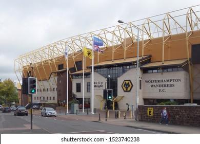 WOLVERHAMPTON, ENGLAND - SEPTEMBER 11, 2019: Exterior view of Molineux Stadium in Wolverhampton, England