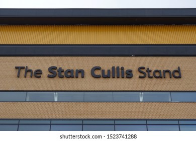 WOLVERHAMPTON, ENGLAND - SEPTEMBER 11, 2019: Detail view of The Stan Cullis Stand at Molineux Stadium in Wolverhampton, England