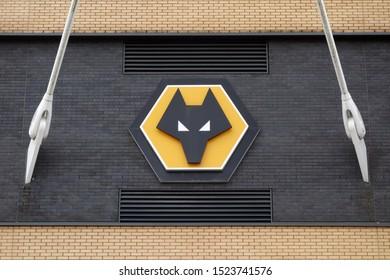WOLVERHAMPTON, ENGLAND - SEPTEMBER 11, 2019: Wolverhampton Wanderers logo at Molineux Stadium in Wolverhampton, England
