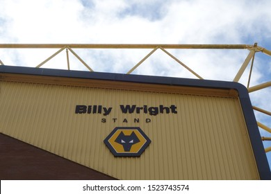 WOLVERHAMPTON, ENGLAND - SEPTEMBER 11, 2019: Detail view of Billy Wright Stand at Molineux Stadium in Wolverhampton, England