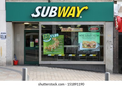 WOLVERHAMPTON, UK - MARCH 10: Subway diner on March 10, 2010 in Wolverhampton, UK. With 32,000 restaurants as of 2010, it is the largest single-brand restaurant chain in the world.