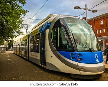 Wolverhampton, United Kingdom - August 1, 2019:  West Midlands Metro tram departing from Wolverhampton to Birmingham,