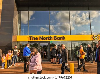 Wolverhampton, United Kingdom - August 15, 2019: The North Bank at Molineux Stadium on match (Wolves vs Pyunik in the Europa League)