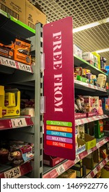 Wolverhampton, United Kingdom - August 3, 2019: 'Free From' Aisle at Asda Wolverhampton Superstore.