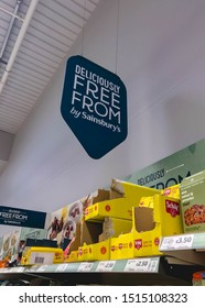 Wolverhampton, United Kingdom - August 5, 2019:  Freefrom food aisle in Sainsbury's Wolverhampton. This aisle contains items which are gluten free, egg free, milk free and so on.