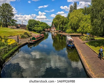 Wolverhampton, United Kingdom - June 6, 2019: A lovely view by Wolverhampton Canal Walk Route.