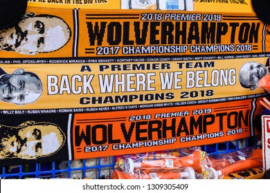 Wolverhampton,UK. May 07th 2018: Wolverhampton Wanderers FC victory parade around the city centre to mark their promotion, souvenirs beening sold around the city to mark the occasion.