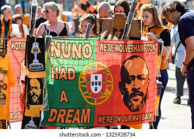 Wolverhampton,UK. May 07th 2018: Wolverhampton Wanderers F.C.   victory parade around the city centre of Wolverhampton celebrating promotion into Premier League. - Shutterstock ID 1325928734