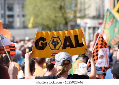 Wolverhampton,UK. May 07th 2018: Wolverhampton Wanderers F.C.   victory parade around the city centre of Wolverhampton celebrating promotion into Premier League.