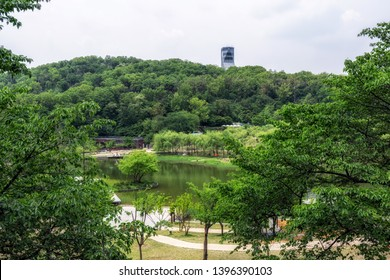 wolyeongji pond and distant observation tower in seoul dream forest park in seoul, south korea