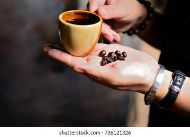 Womam Hot black coffee drinker Morning break