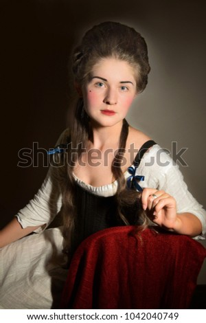Woman 18th Century Stays High Hairstyle Stock Photo Edit Now