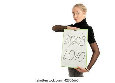 woman with 2009/2010 sign