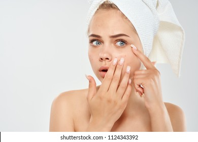 woman with acne skin care