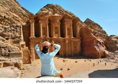 Woman in Ad Deir the Monastery Temple in Petra, Jordan