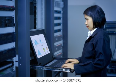 woman administrator in a technology data center room and monitor show graph information of network traffic and status of device