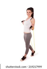 woman aerobics rope isolated on white background