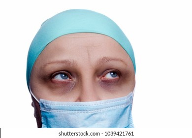 Woman after chemotherapy on a white background