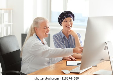 Woman after chemotherapy visiting doctor in hospital