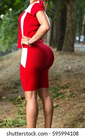 Woman after gluteoplasty
