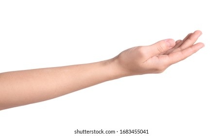Woman against white background, closeup on hand