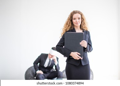 woman agent insurance with businessman injury on background