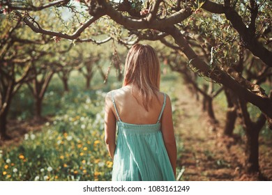 Woman alone in a orchard. Peace and serenity