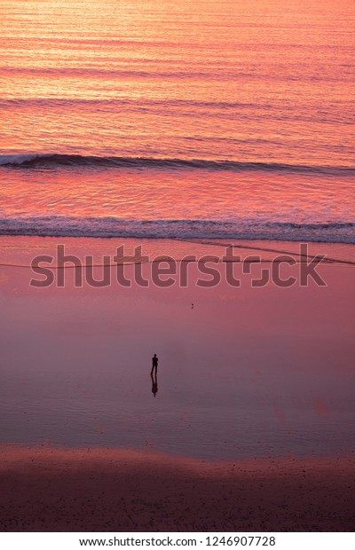 Woman alone watching the sunset at the beach
