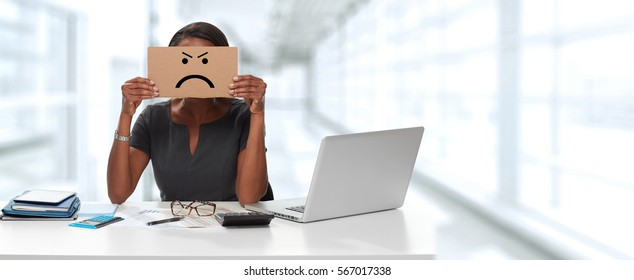 woman with angry cardboard on face
