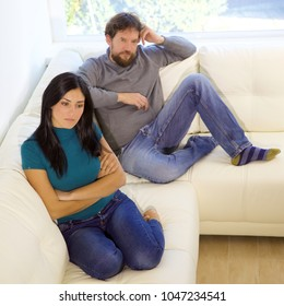 Woman angry not talking to boyfriend