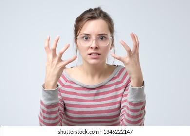 woman is angry quarrelling with her family