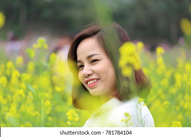 The woman in an ao dai in Vietnam