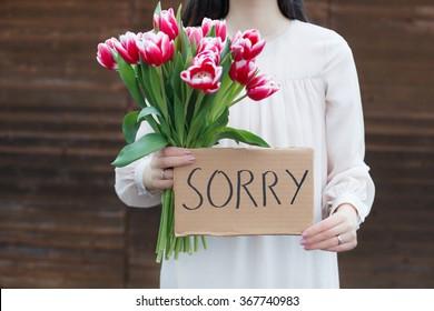 Woman apologizing