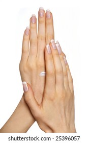 woman applying cream on her hands. Isolated over white
