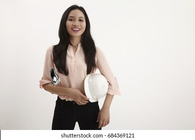 woman architect or engineer isolated in white background