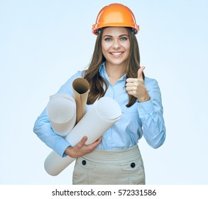 Woman architect holding thumb up. Smiling business woman builder isolated portrait.
