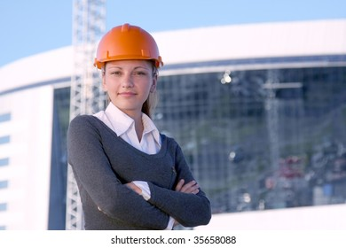 Woman architects on a building