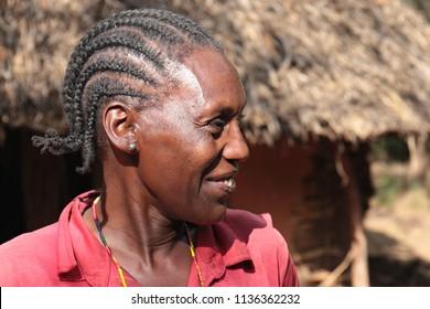 Woman Ari people. Near Jinka City. 31th December 2015. Southern Ethiopia. Africa.