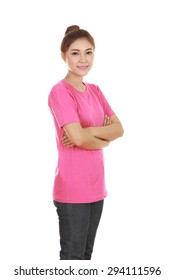 woman with arms crossed, wearing pink t-shirt isolated on white background.