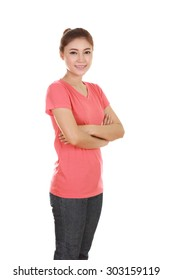 woman with arms crossed, wearing t-shirt isolated on white background.
