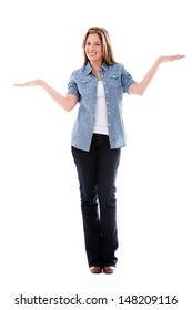 Woman with arms open balancing things - isolated over white