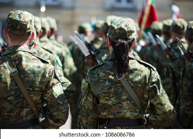 Woman in army. Polish army woman soldier on parade