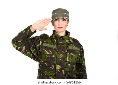 Woman army soldier saluting isolated on white background