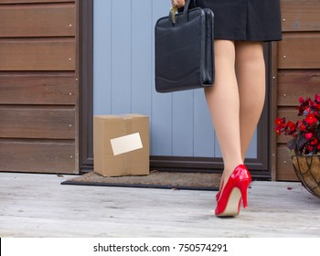Woman arrives home after work to free delivery parcel at door