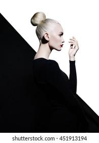 Woman with art professional makeup. Beautiful makeup with professional cosmetics.
