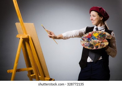 Woman artist in art concept
