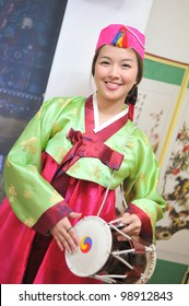 Woman asian drum hanbok dress korea