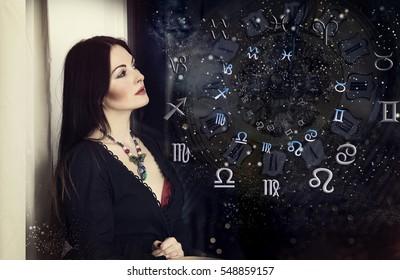 Woman astrologer, horoscope