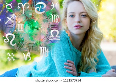 Woman astrologer and zodiac signs
