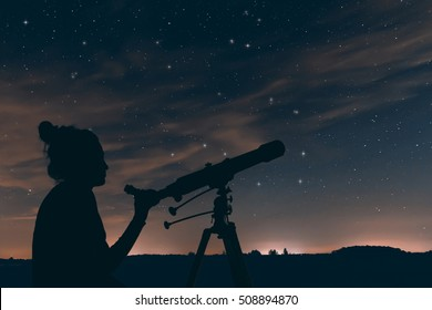 Woman with astronomical telescope. Night sky, with clouds and constellations, Hercules, Draco, Ursa Major, Ursa Minor, Big Dipper, Botes